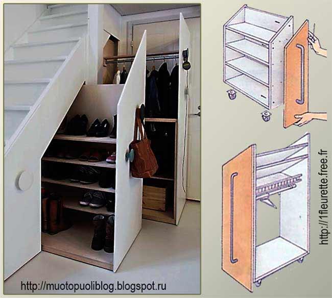 выдвижные контейнеры под лестницей