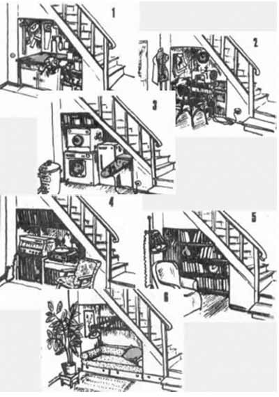 варианты обустройства од лестницей